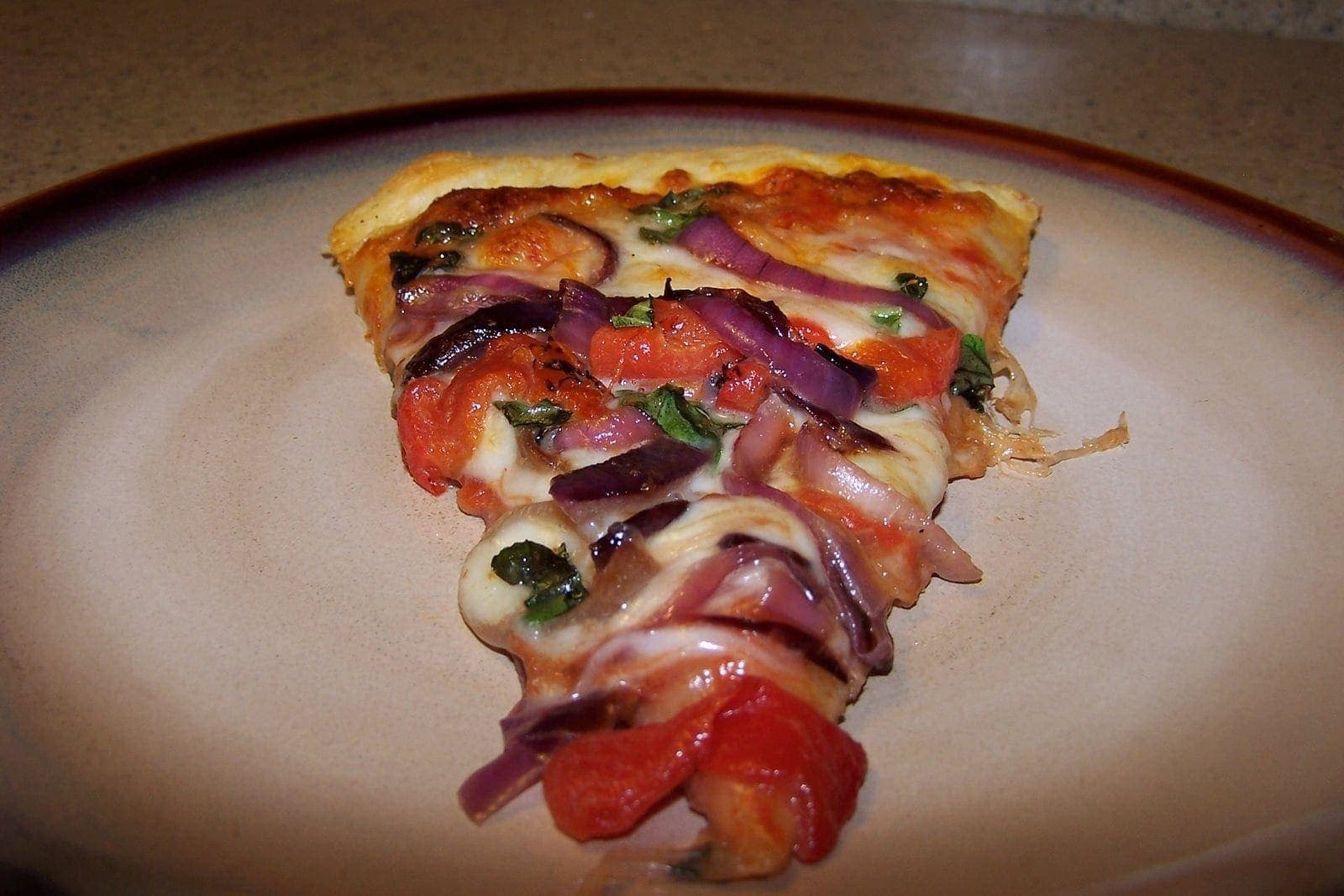 Pizza with Caramelized Onions and Roasted Peppers