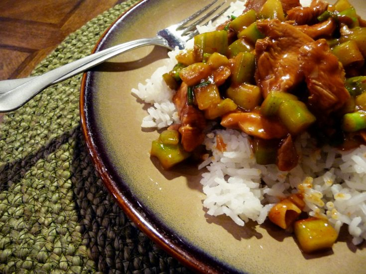 Cucumber Chicken is an Asian Stir Fry Dish featuring tender chicken and chunks of cucumber in a spicy garlic sauce. Serve it over Jasmine rice to complete the meal.