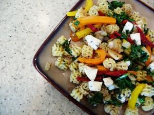 Rainbow Vegetable and Radiatore Pasta Tos