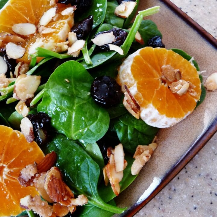 Spinach and Clementine Salad with Vanilla Sugar Almonds