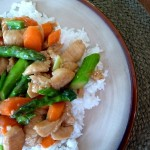 Chicken and Asparagus Stir Fry in a Honey Ginger Sauce
