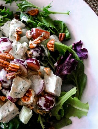 This Creamy Tarragon Chicken Salad is the perfect chicken salad for a spring brunch or a light summer meal serves on top of a plate of mixed greens.