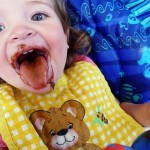 madeline eating chocolate pudding