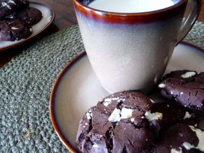 Triple chocolate chunk cookies on a small plate with a mug of milk.