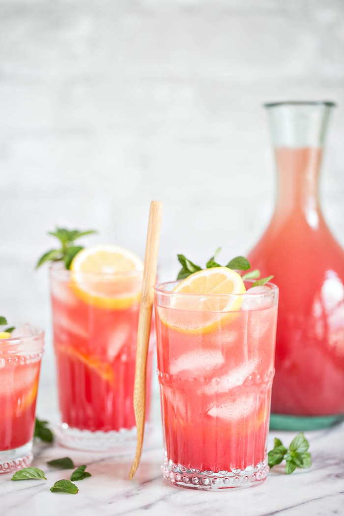 glasses of Homemade Watermelon Mint Lemonade