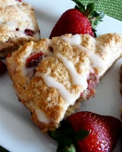 Strawberry Mascarpone Scones with Honey Milk Glaze
