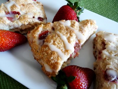 Strawberry Mascarpone Scones with Honey Milk Glaze   We love scones in my house. They are sweet enough to be a breakfast treat for the kids but not so full of sugar I don't feel good about serving them!