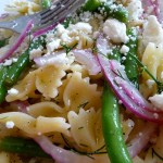 Green bean, feta, and dill pasta salad