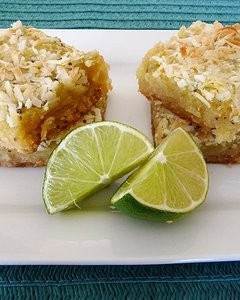 Kiwi-Lime Bars with Macadamia Nut Crust
