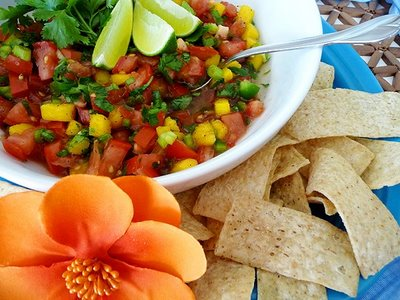 Enjoy a sweeter twist on a classic chunks fresh salsa recipe with the addition of Mangoes.