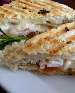 Roasted Chicken, Brie, and Apricot Panini on Rosemary Foccacia