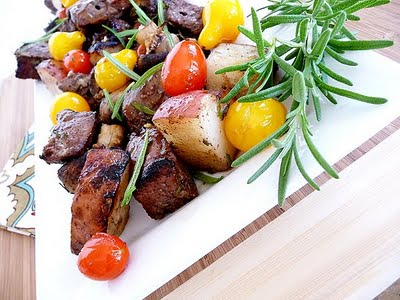 Steak, Potato, and Portobello Kebabs