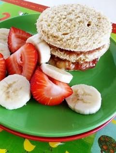 "Sky High Strawberry-Banana ""Peanut"" Butter and Jelly"