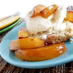 Cinnamon Shortcakes with Roasted Nectarines and Vanilla Ice Cream