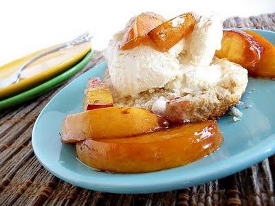 Cinnamon Shortcakes with Roasted Nectarines and Vanilla Ice Cream