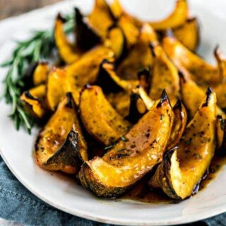 Acorn Squash Recipe for Thanksgiving - Apple Cider Roasted Squash with Rosemary