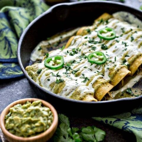 Chicken, Black Bean, and Spinach Enchiladas with Tomatillo Enchilada Sauce