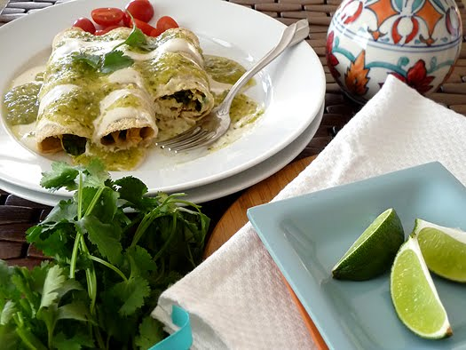 Chicken and Spinach Enchiladas with Tomatillo Sauce
