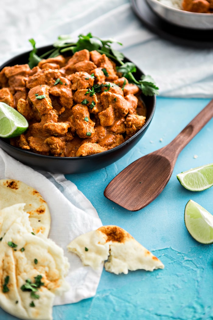 Indian Butter Chicken with Basmati Rice is a delicious, easy Indian recipe.  This family favorite makes itsimple to cook popular Indian recipes at home.  It features tender chicken in an Indian spiced creamy, tomato based sauce featuring the flavors of garam masala.