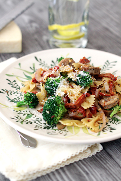 Spicy Bow Tie Pasta with Broccoli and Sausage