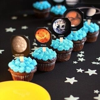Solar System Birthday Party Cupcakes