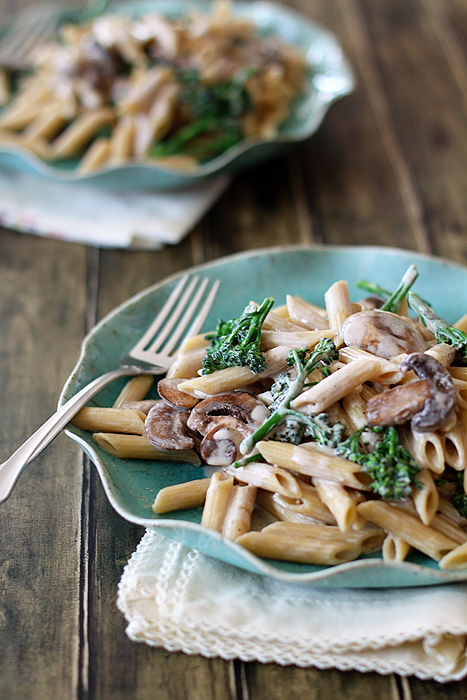 This Alfredo sauce is a tad lightened up but every bit as rich and creamy. We use whatever pasta we have on hand and lo