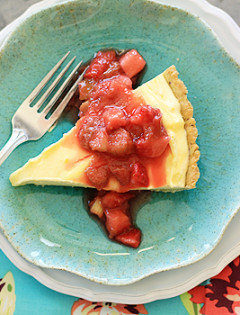 Lemon Cloud Tart with Strawberry Rhubarb Compote