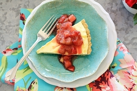 Lemon Cloud Tart with Strawberry Rhubarb Compote | Rhubarb is one of those
