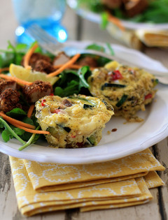 Individual Zucchini, Pepper, and Fontina Frittata