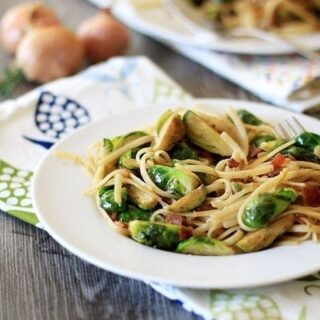Linguine with Brussels Sprouts, Bacon, and Caramelized Shallots