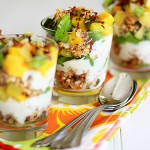 tropical fruit, yogurt, and granola parfait