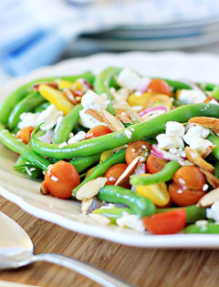green bea, tomato, and feta salad