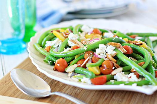 green bea, tomato, and feta salad