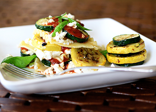 no bake grilled vegetable lasagna with feta