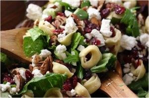 Tortellini Salad with Feta, Pecans, and Cranberries,