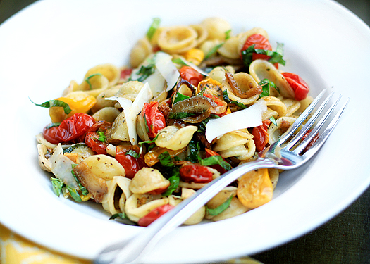Orecchiette with Slow-Roasted Tomatoes, Basil, and Parmesan