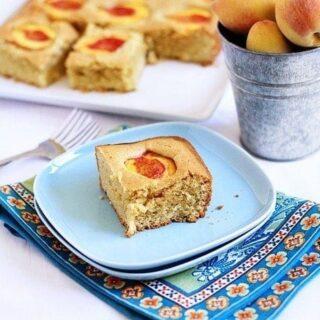 dimply peach almond cake