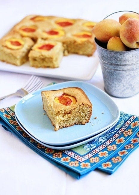 Dimply Peach Cake | This cake is the perfect backdrop for fresh juicy peaches! And it turned out really moist too. It is a great cross between dessert and brunch.