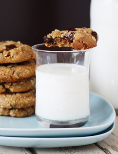 chewy almond butter cookies with oatmeal and chocolate chunks