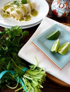 chicken, spinach, and black bean enchiladas