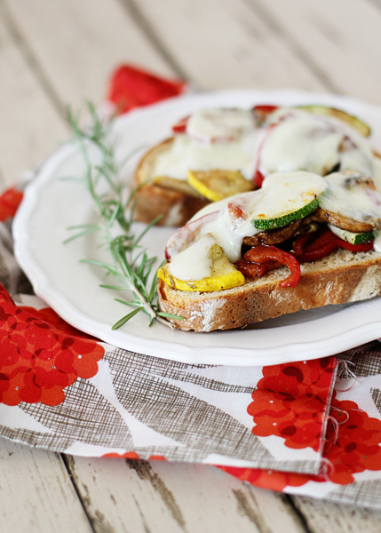 roasted vegetable sandwiches in a baking dish
