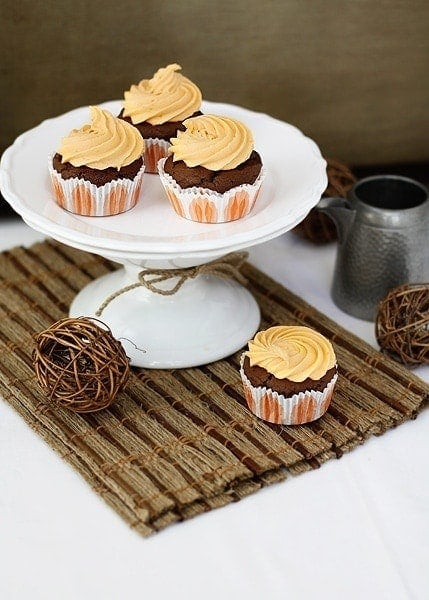 Chocolate Pumpkin Cupcakes with Citrus Pumpkin Frosting