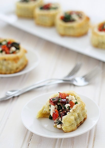 Greek puff pastry appetizer on white plate