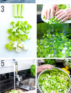 step by step photos of cleaning leeks
