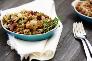 stuffing with cranberries, leeks, and bacon