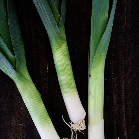 close up of leeks