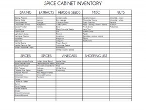 free printable for spice cabinet checklist