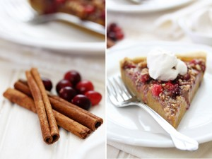 cinnamon sticks, cranberries, and pumpkin pie