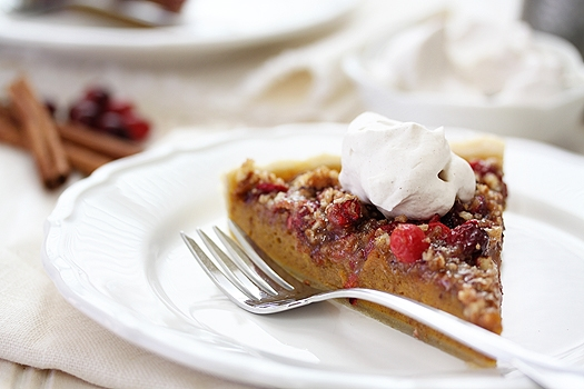pumpkin cranberry pecan tart