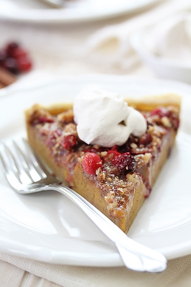 pumpkin cranberry tart